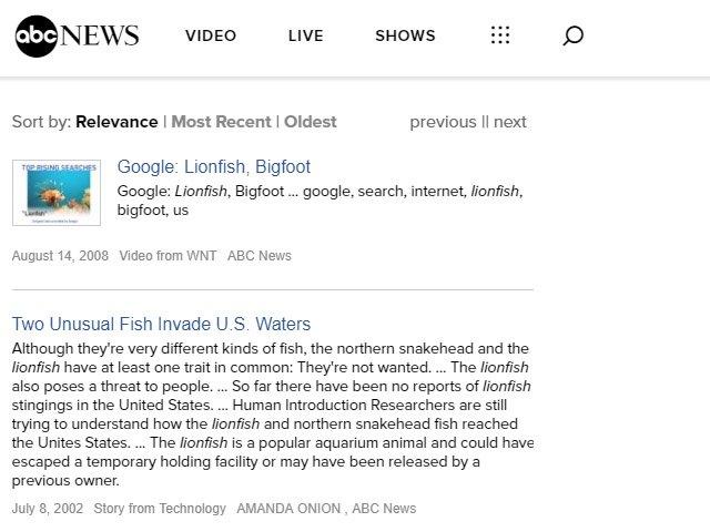 ABC Lionfish News Articles
