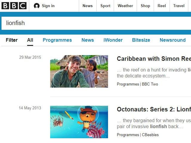 BBC News Lionfish Articles