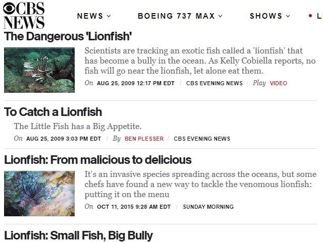 CBS Lionfish News Articles