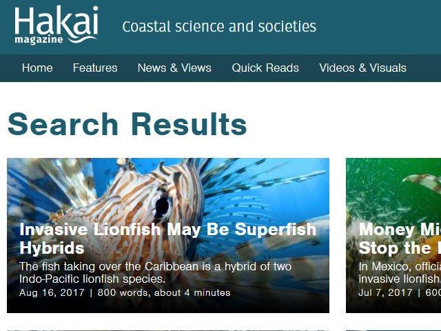 Hakai Magazine Lionfish News Articles