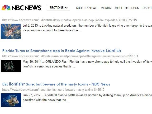 NBC Lionfish News Articles