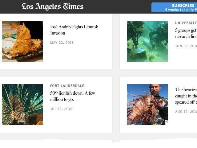 Los Angeles Times Lionfish News Articles