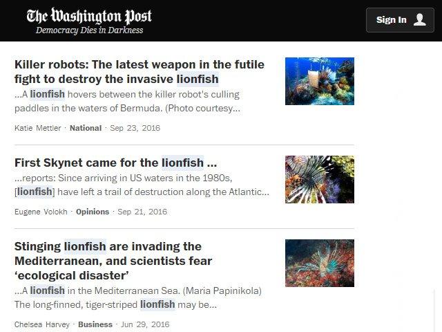 The Washington Post Lionfish News Articles