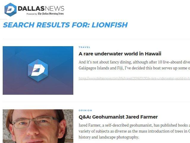 Dallas Morning News Lionfish News Articles
