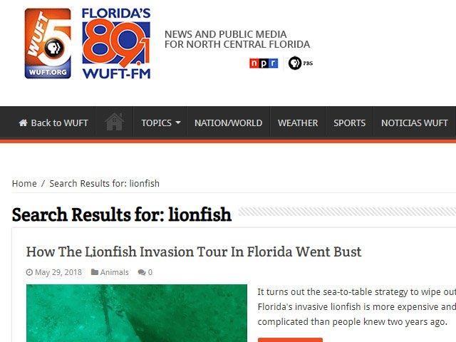 WUTF Lionfish News Articles